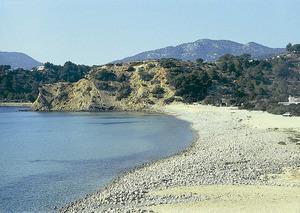 La platja des Jondal i, al fons, la punta des Cap des Metge. Foto: Enric Ribes i Marí.