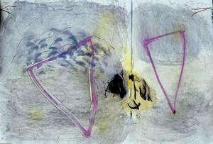 """Antoni Cardona Cardona. Obra sobre paper de l´exposició """"Platges de paper"""" (desembre 1987). Foto: Catalina Verdera Ribas."""