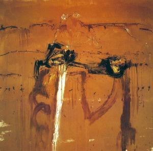 """Antoni Cardona Cardona. """"Salmagra"""". Tècnica mixta sobre tela, 1,76 x 1,72 m. Foto: Joan Ramon Bonet."""