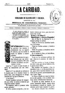 Portada del núm. 11 de <em>La Caridad</em>, de l´any 1859. És la publicació més antiga de què disposa l´Hemeroteca Municipal d´Eivissa. Cortesia de l´Hemeroteca Municipal d´Eivissa / donació de Lluís Llobet.
