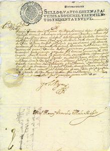Carta reial de l´època de Carles II, signada a Madrid, el 20 d´octubre de 1669, on s´ordena la publicació de la Butla de la Santa Croada. Cortesia de l´Arxiu Històric Municipal d´Eivissa.