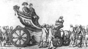 Gravat al·legòric de la visita del rei Carles IV i la seua esposa a Barcelona, l´any 1802. IMHB / <em>Gan Enciclopèdia Catalana</em>.