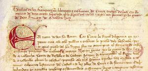 Fragment del començall de la Carta de Franqueses. Cortesia de l´Arxiu Històric Municipal d´Eivissa.