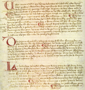 Una pàgina de la Carta de Franqueses que fa referència al pagament del portatge i als pleits. Cortesia de l´Arxiu Històric Municipal d´Eivissa.