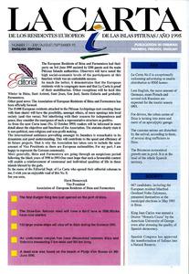 Portada d´un exemplar de La Carta de los Residentes Europeos de las Islas Pitiusas.