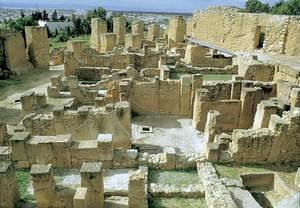 Cartago. L´acròpolis de Byrsa; vista parcial del sector urbà tardopúnic (s. III-II aC.) que, amb la resta de la ciutat, fou cremat i arrasat pels romans l´any 146 aC. Foto: Joan Ramon Torres.
