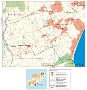 Mapa de la vénda de Cas Costes. Elaboració: UIB / Laboratori de Sistemes d´Informació Geogràfica / Josep Antoni Prats Serra.