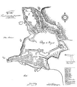 Plànol de les fortificacions projectades per l´enginyer José Castellón a la vila d´Eivissa. Extret de <em>Las murallas de Ibiza</em>.