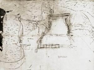 Es Castell. Plànol de les murades medievals titulat <em>Il rittrato grande della fortezza de Iviza</em>, fet per G. B. Calvi el s. XVI. Extret de <em>La triple murada de l´Eivissa àrab</em>.
