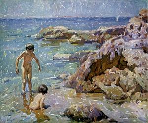 <em>Nens a la mar</em>, 65 x 54 cm., quadre de Josep Manuel Chico Prats. Foto: extret de <em>Maestros actuales de la pintura y la escultura catalanas</em>.