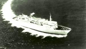 El vaixell <em>Ciudad de Badajoz</em>.