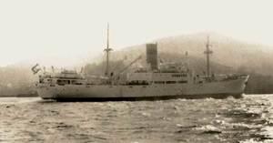 El <em>Ciudad de Salamanca</em>, primer vaixell d´aquest nom, que entrà en servei el 1947.