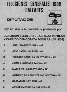 Papereta de vot de la Coalició Popular per a les eleccions de 1982.