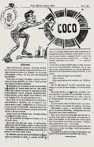 Portada del número 22, corresponent al dia 30 de novembre de 1890, del setmanari <em>El Coco</em>.