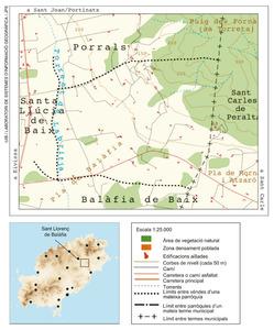 Mapa de la vénda des Codolar, del poble de Sant Llorenç de Balàfia. Elaboració: UIB / Laboratori de Sistemes d´Informació Geogràfica / Josep Antoni Prats Serra.
