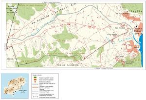 Mapa de la vénda des Coloms, de Santa Eulària des Riu. Elaboració: UIB / Laboratori de Sistemes d´Informació Geogràfica / Josep Antoni Prats Serra.