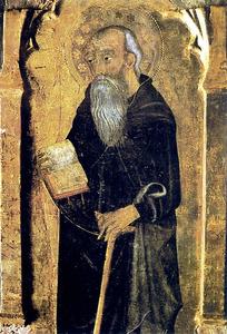 Taula pintada que representa sant Antoni Abad, atribuïda a Francesc Comes. Foto: Josep M. Subirà.