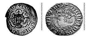 A l´esquerra, moneda de Ferran d´Antequera, elegit rei al Compromís de Casp. A la dreta, moneda de Martí l´Humà, darrer rei de la casa de Barcelona.