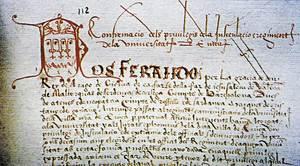 Confederació Hispana. Encapçalament de la còpia d´un document de Ferran el Catòlic. <em>Llibre de sa Cadena</em>. Arxiu Històric Municipal d´Eivissa.