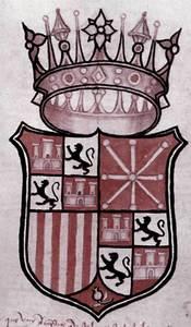 Confederació Hispana: escut que apareix a una plana dels <em>Llibres d´Entreveniments</em>. Va ser fet el 1555 amb motiu de la mort de la reina Joana d´Aragó.