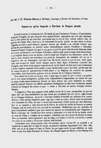 Primera plana de la ponència presentada per Vicent Serra Orvay al Primer Congrès Internacional de la Llengua Catalana.