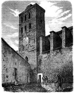 La casa de la Universitat d´Eivissa, a l´esquerra de la imatge; aquest edifici era la seu del Consell General. Dibuix: arxiduc Lluís Salvador.