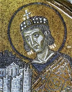Mosaic bizant&iacute; de Santa S&ograve;fia, Istambul, datat en els s. X-XI, que representa l´emperador Constant&iacute; I. Foto: cortesia de la <em>Gran Enciclop&egrave;dia Catalana</em>.