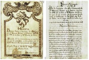 Dues planes del manuscrit de 1765 que conté una història del Convent; va ser transcrit i publicat el 1998 per Felip Cirer Costa.
