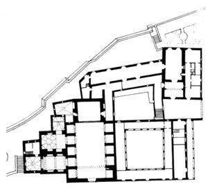 Planta del conjunt arquitectònic de l´antic Convent dels frares dominics. Extret de <em>Guía de la Arquitectura de Ibiza y Formentera</em>.