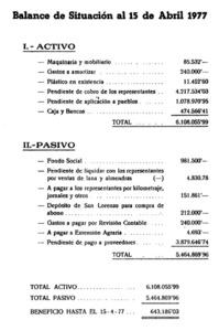Balanç dels comptes de la Cooperativa Agrícola Es Nostro Camp, pertanyent a l´any 1977. Pot observar-se el considerable volum de capital que movia aquesta entitat. Font: revista <em>UC</em>.