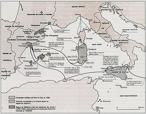 Mapa esquem&agrave;tic de l´extensi&oacute; de la Corona d´Arag&oacute; entre 1213 i 1387. Extret de <em>L´expansi&oacute; de Catalunya en la Mediterr&agrave;nia </em>/ Fundaci&oacute; Nadal.