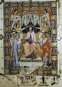 Miniatura del <em>Llibre de franqueses i privilegis de Mallorca</em> que representa Jaume I, fundador de la Corona de Mallorca.