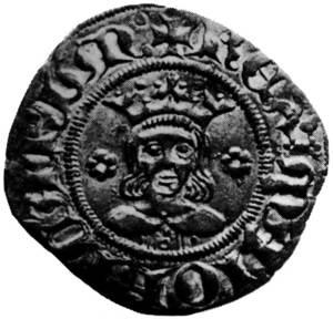 Moneda de Jaume II de Mallorca, primer rei privatiu de la Corona de Mallorca. Extret de <em>Numismàtica catalano-aragonesa medieval</em>.