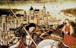 Sant Jordi de Pere Nisard. Al fons apareix la Ciutat de Mallorca, principal centre comercial de la Corona de Mallorca.