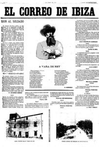 Una portada d´<em>El Correo de Ibiza</em> corresponent a un número extraordinari del primer de juliol de 1900 com a homenatge al general Vara de Rey. Hemeroteca Municipal d´Eivissa.