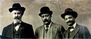 D´esquerra a dreta, Santiago Rusiñol, Enric Martí Fiol i Josep Costa Ferrer.
