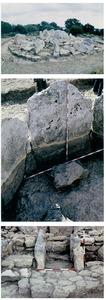 De dalt a baix, vista general del sepulcre de ca na Costa una vegada excavat; detall del solc picat a la roca on encaixen els ortostats que formen la cambra; vista de l´empedrat del corredor d´accés. Fotos: Museu Arqueològic d´Eivissa.