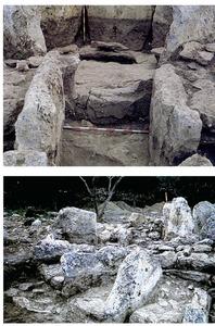 Ca na Costa. A dalt, detall de la llosa perforada que dóna accés a la cambra; a baix, detall dels ortostats radials de contenció. Fotos: Museu Arqueològic d´Eivissa.