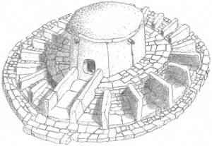 Reconstrucció axonomètrica ideal del sepulcre de ca na Costa, realitzada per Carlo A. Kovacevich Maresma. Cortesia del Museu Arqueològic d´Eivissa.