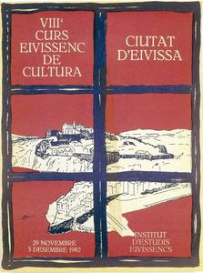 Cartell de la vuitena edició del Curs Eivissenc de Cultura, dissenyat per Nèstor Pellicer. Cortesia de l´Institut d´Estudis Eivissencs.