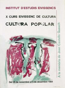 Cartell de la desena edició del Curs Eivissenc de Cultura, disseny d´Antoni Cardona. Cortesia de l´Institut d´Estudis Eivissencs.