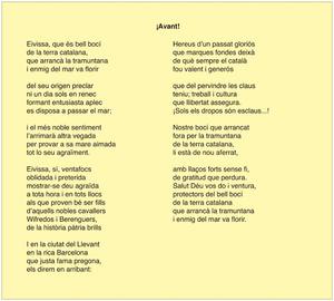 """Poema escrit per Felip Curtoys i Valls amb motiu del primer viatge directe i regular Eivissa-Barcelona del vapor de """"La Isleña Marítima"""", que tengué lloc el 31 de desembre de 1911."""
