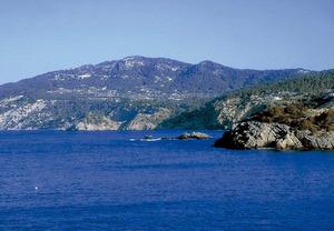 """La costa de la vénda de Davall sa Serra, amb ses Illetes i la punta de ses Illetes, prop de Porroig. Foto: Bartomeu Tur Prats """"Pou""""."""