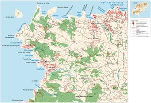 Mapa de la vénda de Dellà Torrent, del poble de Sant Agustí des Vedrà. Elaboració: Josep Antoni Prats Serra / José F. Soriano Segura / Antoni Ferrer Torres.
