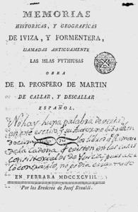Portada de l´obra <em>Memorias hist&oacute;ricas y geogr&aacute;ficas de Iviza y Formentera, llamadas antiguamente las islas Pythiusas</em>, de Pr&ograve;sper Mart&iacute; Descatlar i Descatlar, publicat a Ferrara el 1798.