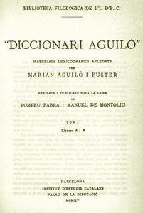 Portada del primer volum del <em>Diccionari Aguiló</em>, publicat a Barcelona el 1915.