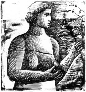 Dibuix d´Ernesto Drangosch, del catàleg de l´exposició que realitzà a la galeria Plaça Drassaneta.