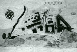 Plànol del s. XVII on apareix la Drassana d´Eivissa, que ocupava l´actual plaça i carrer d´Antoni Riquer, vora el monument als corsaris. Cortesia de l´Archivo General de Simancas.