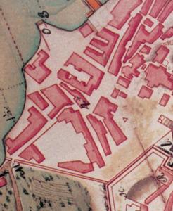 Plànol del s. XVIII on apareix situada la Drassana d´Eivissa. Cortesia de l´Archivo General de Simancas.