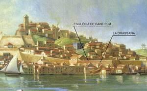 Pintura de Joan Mestre, 1853, on apareix la Drassana amb dos vaixells. Foto: Josep Buil Mayral. Pintura de Joan Mestre, 1853. Pinacoteca de Lluís Llobet Tur.